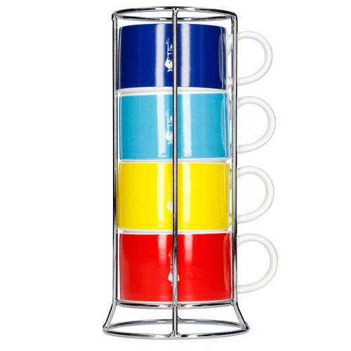 Bialetti Impilabili Di Colori cappuccino / koffie kopjes in rek 4 stuks