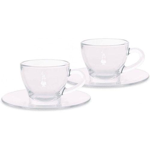 Bialetti Cappuccino kop en schotel glas 2st