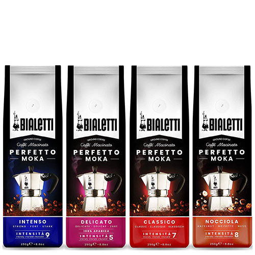 Bialetti Gemalen Koffie proefpakket 4 x 250 gram Classico, Intenso, Delicato en Nocciola