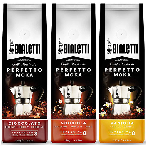 Bialetti Gemalen Koffie smaken proefpakket - 3 x 250 gram Chocolade, Hazelnoot en Vanille