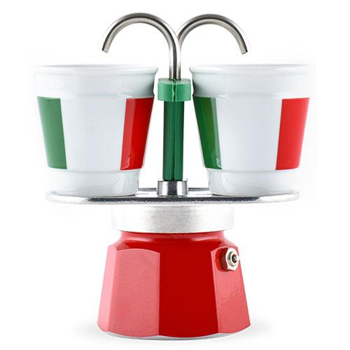 Bialetti Mini Express Tricolore + 2 kopjes