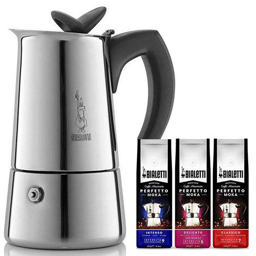 Bialetti Musa 4 kops + koffiepakket 3 x 250gr
