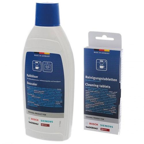 Bosch/Siemens Ontkalker 500ml + Reinigingstabletten 10st
