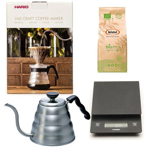 Hario Craft Coffee Maker + Hario Weegschaal + Hario Waterketel 1.2 liter + Bristot BIO 100% Biologische koffie