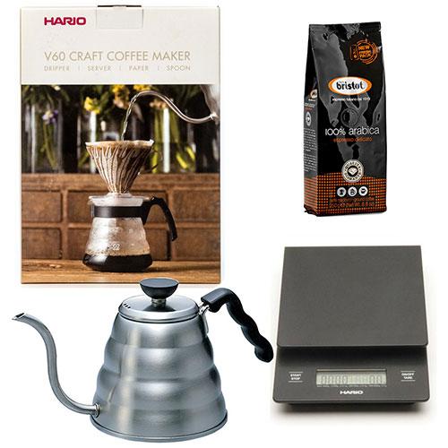 Hario Craft Coffee Maker + Hario Weegschaal + Hario Waterketel 1.2 liter + Bristot Diamante 100% Arabica koffie