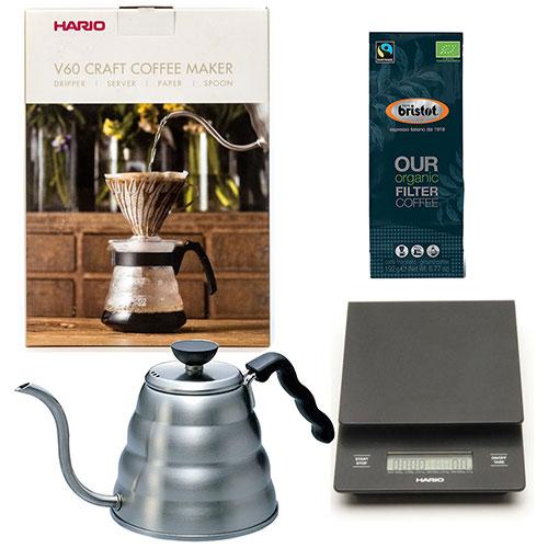 Hario Craft Coffee Maker + Hario Weegschaal + Hario Waterketel 1.2 liter + Bristot OUR Biologische Koffie
