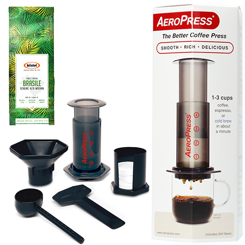 De nieuwste Aeropress Coffee Maker met Bristot Brasile Alta Mogiana single origin koffiebonen